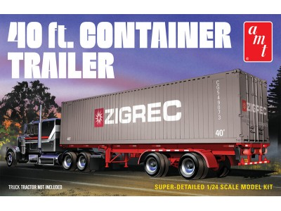 AMT 1:24 40ft Shipping Container Trailer Plastic Model Kit - Level 3