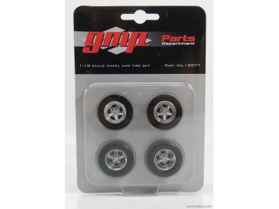 1:18 Scale 5-Spoke Cragar Style Wheels & Tyres - Set of 4 Chrome
