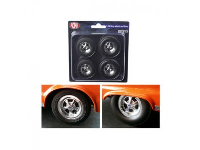 1:18 Scale Cragar Drag Wheels & Tyres Chrome - Set of 4