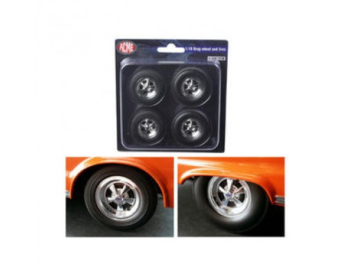 Acme 1:18 Drag Wheels and Tyres - Cragar SS Chrome