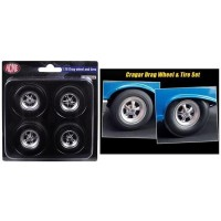 1:18 Scale Cragar Drag Wheels & Tyres - Set of 4