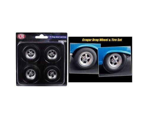 Acme 1:18 Drag Wheels and Tyres - Cragar Style