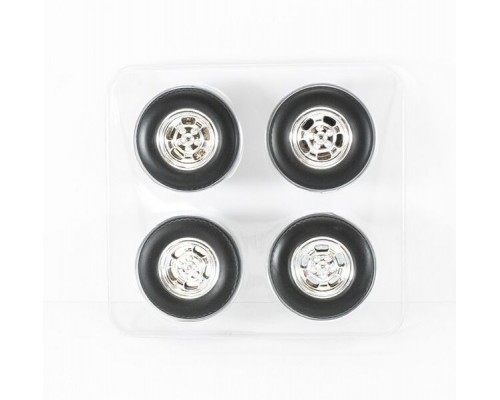 1:18 Scale Mag Wheel and Tyres Set - Chrome Jelly Bean Style