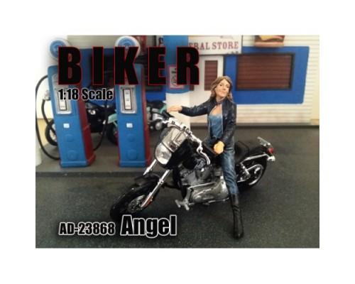 1:18 Scale Model Lady Biker Figurine - Angel