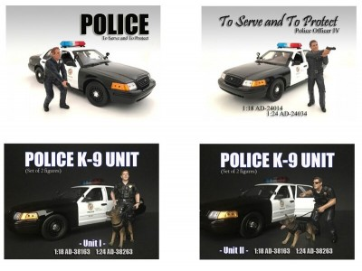American Diorama 1:18 Model Police and K9 Units Series Figurines
