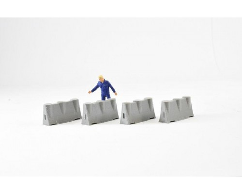 Aussie 3D 1:50 Road Safety Barriers - Concrete - Qty 4