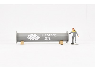 Aussie 3D 1:50 Pipe Section with Pipe Cradles - Grey