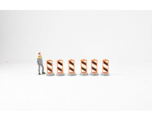 1:50 Scale Lane Dividers Model Pack Of 6 - Orange and Black