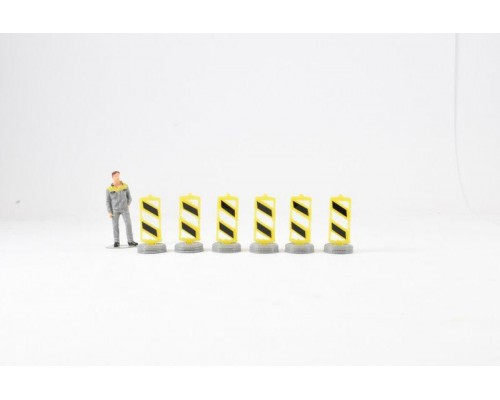 Aussie 3D 1:50 Road Lane Dividers - Yellow and Black - Qty 6