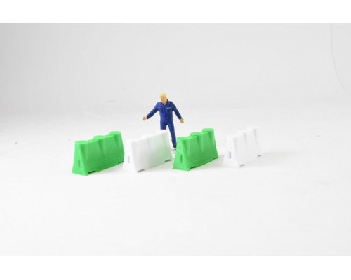 Aussie 3D 1:50 Road Safety Barriers - Green and White - Qty 4