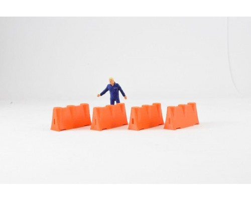 Aussie 3D 1:50 Road Safety Barriers - Orange - Qty 4