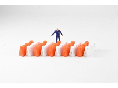 1:50 Scale Construction Safety Barriers - Orange and White