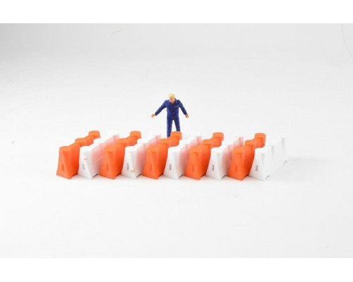 Aussie 3D 1:50 Road Safety Barriers - Orange and White - Qty 10