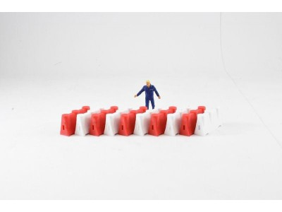 1:50 Scale Construction Safety Barriers - Red and White