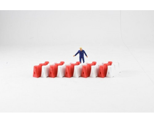 Aussie 3D 1:50 Road Safety Barriers - Red and White - Qty 10