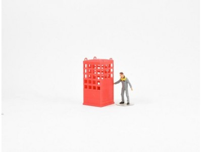 1:50 Scale Crane Lifting Cage - Single Person - Red