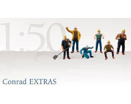 Conrad 1:50 Construction Workers Figurine Set - Hardhats