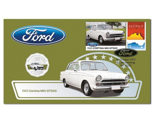 Australia Post Ford Cortina MKI GT500 - 2017 50c Stamp and Coin Cover - PNC