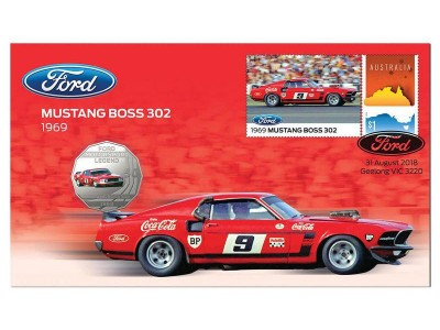 Australia Post Ford Mustang BOSS 302 - 2018 50c Stamp and Coin Cover - PNC