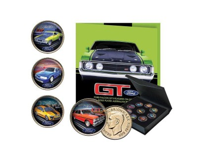 Downies Ford GT Enamel Penny Collection - 24crt Gold Plated 9-Piece Coin Set