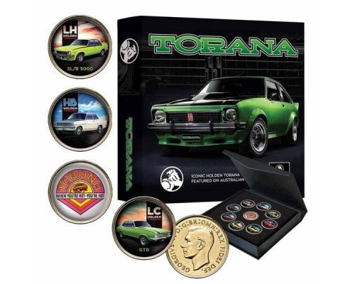 Downies Holden Torana 9 Piece GOLD Plated Enamel Collectors Coin Set