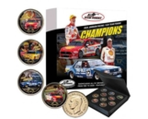 DJR Team Penske Gold Plated Enamel 10 Piece Collectors Penny Set