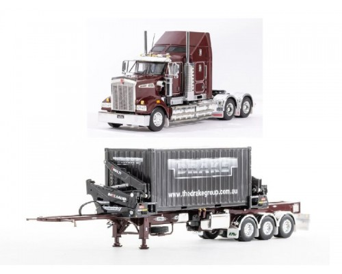 Drake Collectibles SPECIAL 1:50 Kenworth T909 Truck with BoxLoader Trailer - Burgundy