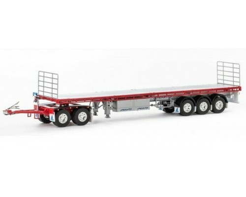 Drake Collectibles 1:50 MaxiTRANS Road Train Trailer & Dolly Set - Silver/Red