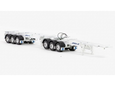 1:50 Scale Freighter - Skel B-Double Trailer Set - White