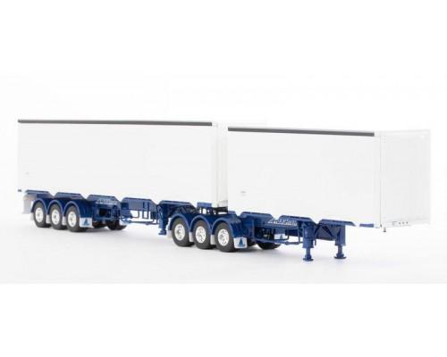 Drake Collectibles1:50 MaxiTRANS Eziliner B-Double Trailer Set - White/Blue