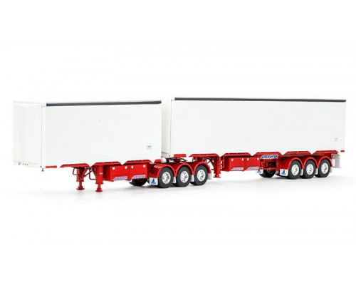 1:50 Scale MaxiTRANS Eziliner B-Double Trailer Set - White/Red