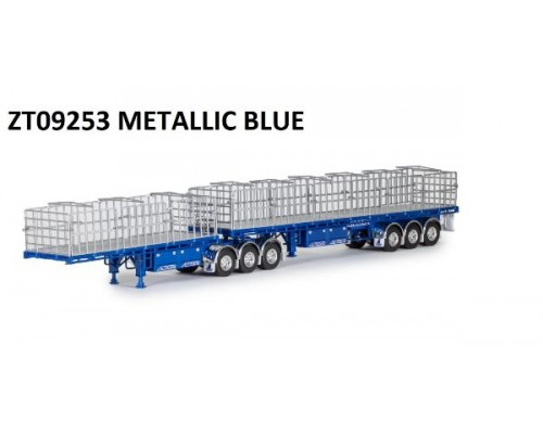 Drake Collectibles 1:50 MaxiTRANS B-Double Flat Top Trailer Set - Metallic Blue