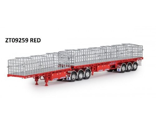 Drake Collectibles 1:50 MaxiTRANS B-Double Flat Top Trailer Set - Red/Red