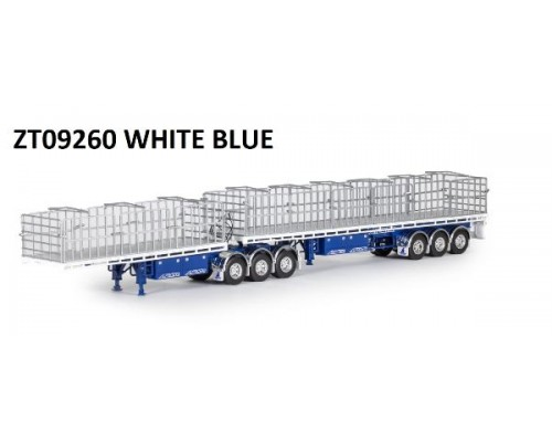 Drake Collectibles 1:50 MaxiTRANS B-Double Flat Top Trailer Set - Blue / White