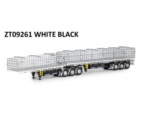 Drake Collectibles 1:50 MaxiTRANS B-Double Flat Top Trailer Set - Black / White