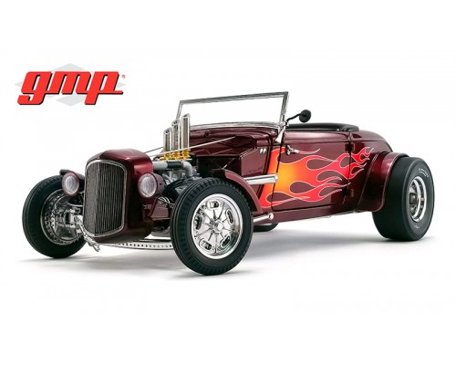 1:18 Scale 1934 Hot Rod Roadster - Brandywine Metallic / Flames