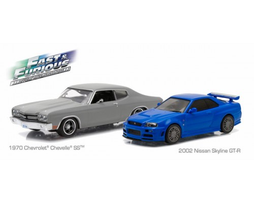 Greenlight 1:43 Fast and Furious Twin Set - 1970 Chevrolet Chevelle SS and 2002 Nissan Skyline GT-R