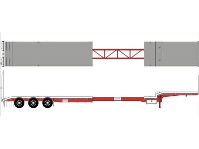 Iconic Replicas 1:50 CTE, Custom Transport Equipment 45' Extendable Dropdeck Trailer - White and Red