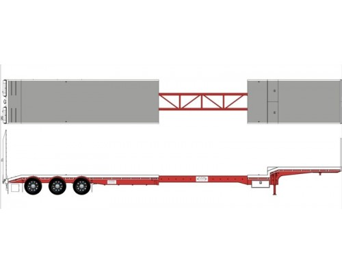 Iconic Replicas 1:50 Extendable Dropdeck Trailer and Dolly - White/Red