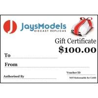 Jays Models $100.00 Gift Certificate