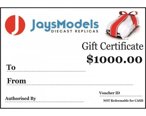 Jays Models $1000.00 Gift Certificate