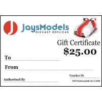 Jays Models $25.00 Gift Certificate