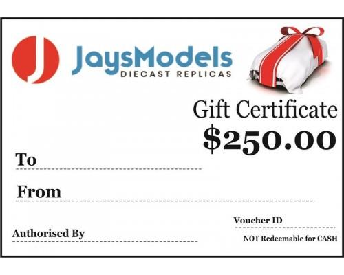 Jays Models $250.00 Gift Certificate