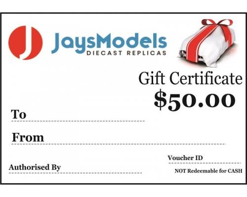 Jays Models $50.00 Gift Certificate