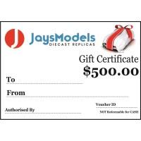 Jays Models $500.00 Gift Certificate