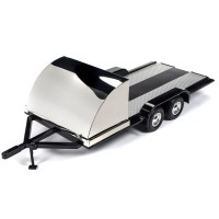 1:18 Scale Tandem Car Trailer - Black / Chrome