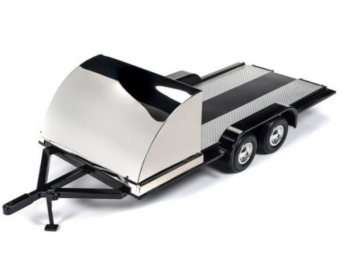 1:18 Scale Tandem Car Trailer - Black / Chrome