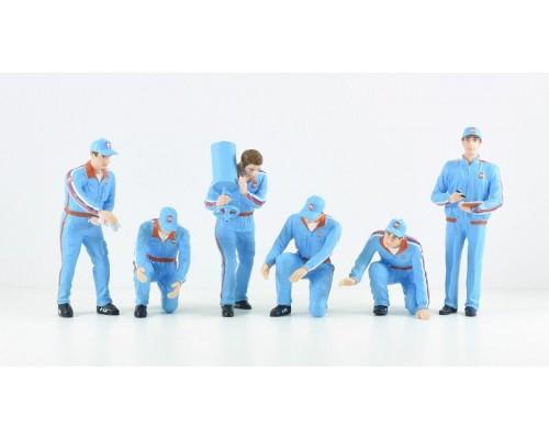 1:18 Scale F1 Pit Crew Figurine Set - Team Gulf