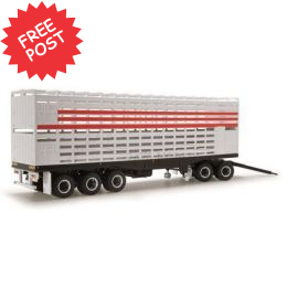 Livestock Road Train Trailer & Dolly - White/Red