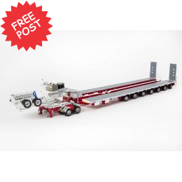 Drake 7x8 Steerable Trailer & 2x8 Dolly - White and Red